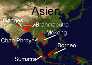 Süßwasserkugelfischvorkommen in Asien
